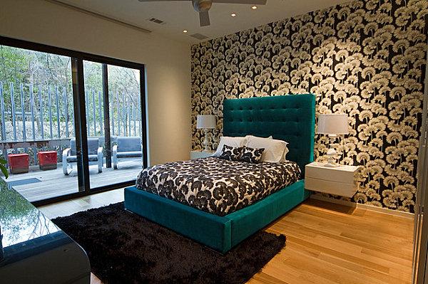 Бирюзовый цвет кровати в спальне