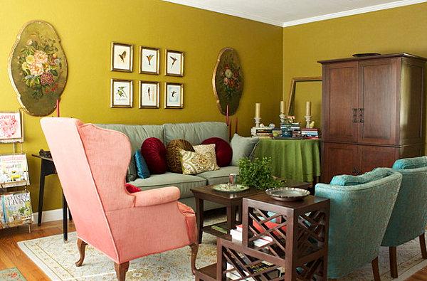 Оливковый цвет стен в гостиной
