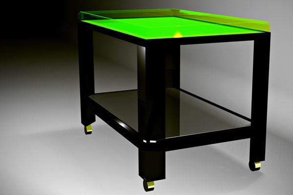 Кофейный столик на колёсиках с салатовой неоновой поверхностью