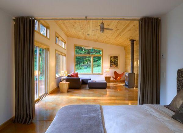 Шторы вместо перегородки между спальней и гостиной