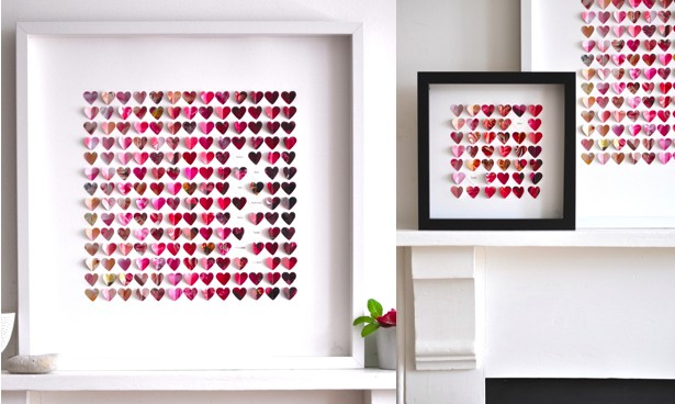 Бумажные сердца в рамках