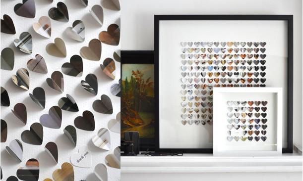 Разноцветные бумажные сердца в рамках