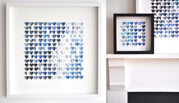 Бумажные сердца на белом фоне в рамках