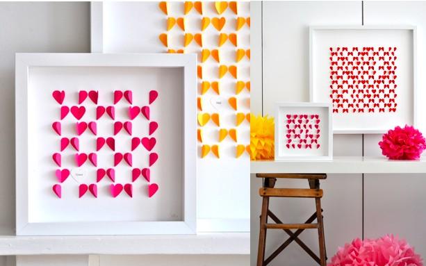 Яркие цвета бумажных сердец в рамках