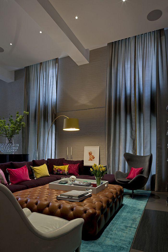 Замечательный дизайн интерьера комнаты с высоким потолком