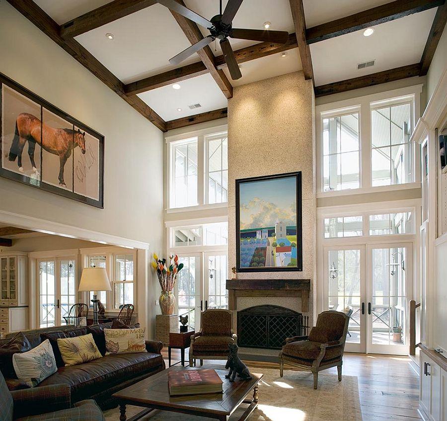 Умопомрачительный дизайн интерьера комнаты с высоким потолком