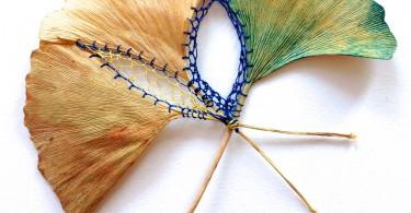 Хиллари Фэил: избранные вышивки на листьях