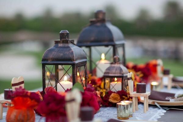 Свадебный стол в осеннем варианте декора
