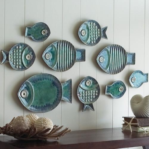 Настенные тарелки в форме рыб