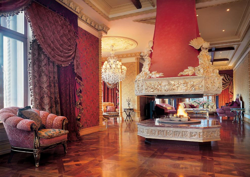 Красивое оформление интерьера помещения в стиле «ампир»