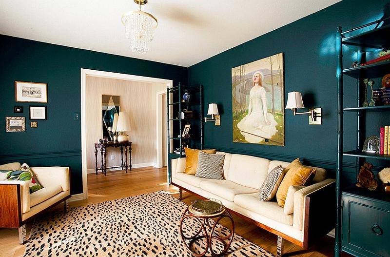 Burnt orange and teal living room