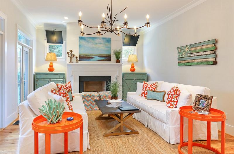 Оранжевые столики в интерьере