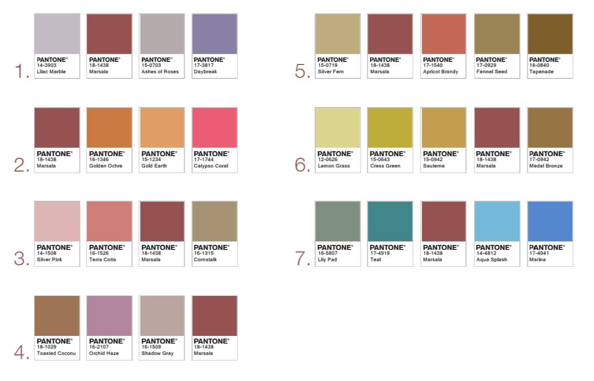 Различные цвета от Pantone