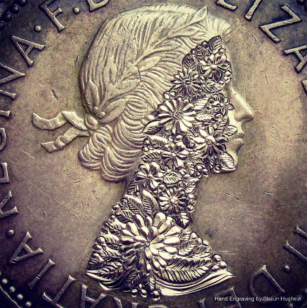 Искусная гравировка от Шона Хьюза: цветочные узоры на никелевых монетках