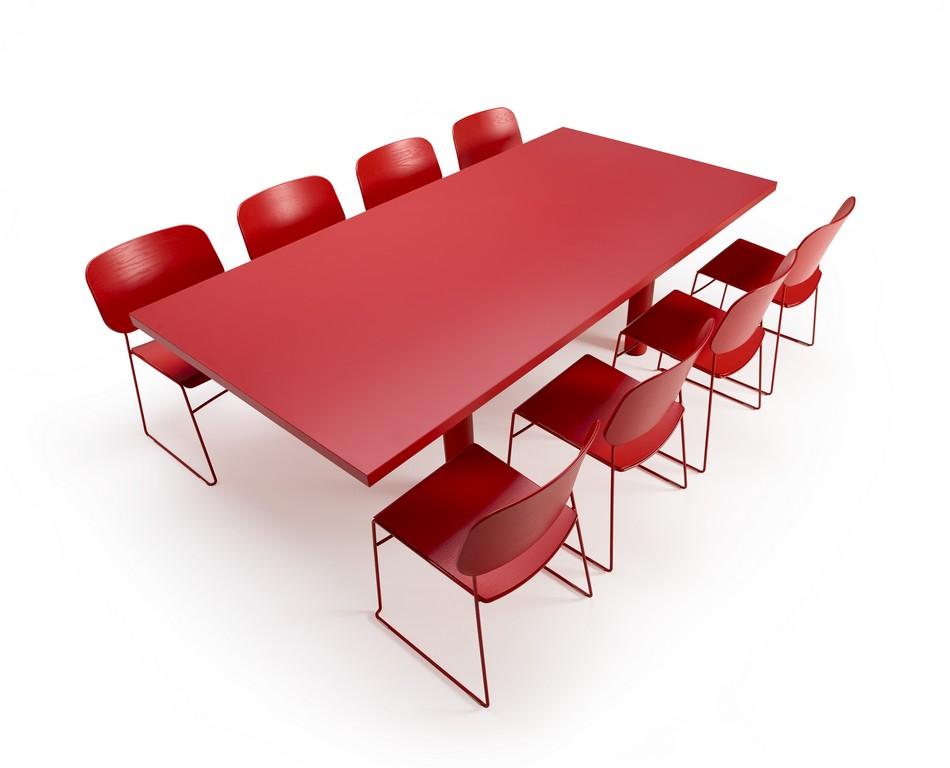 Красный стол для конференц-зала