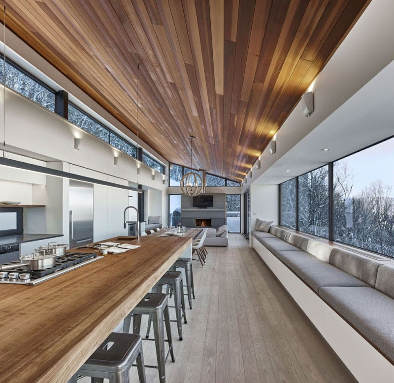 Деревянные потолки в интерьере от студии robitaille.curtis