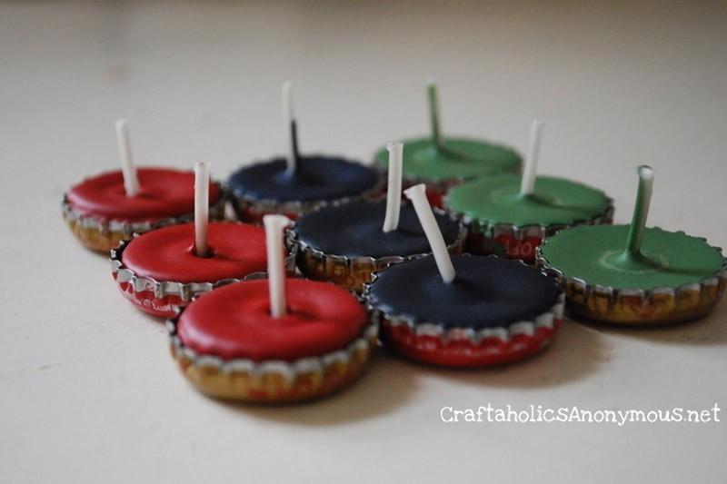 Идеи использования сломанных вещей: крышка с свечой