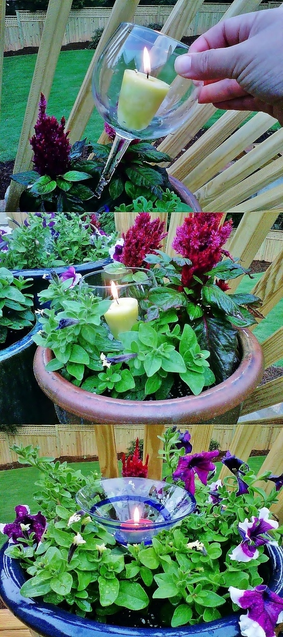 Идеи использования сломанных вещей: подсвечники для горшков с цветами