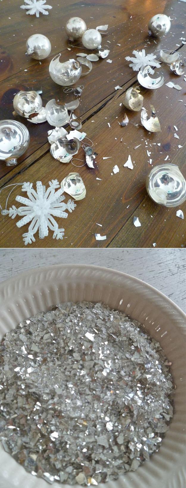 Идеи использования сломанных вещей: побитые новогодние игрушки