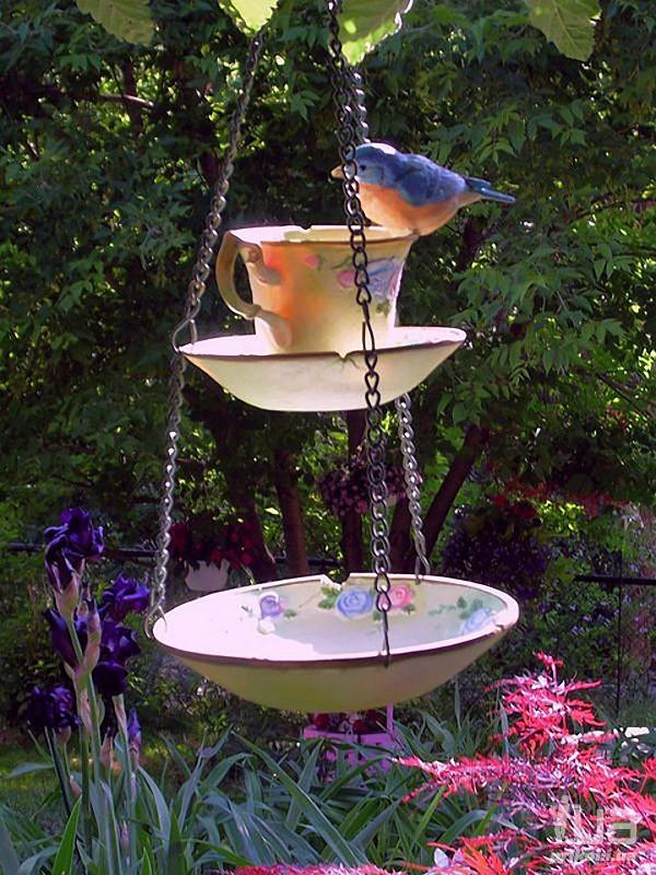 Идеи использования сломанных вещей: кормушка и поилка для птиц