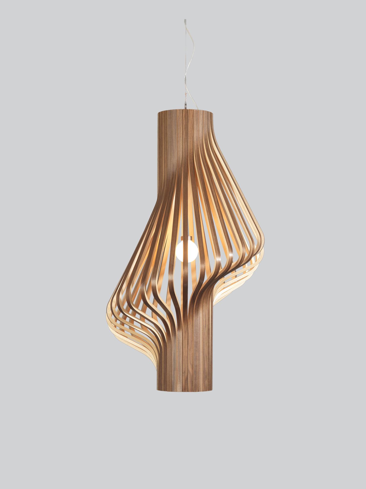 Необычные подвесные светильники из дерева - фото 8