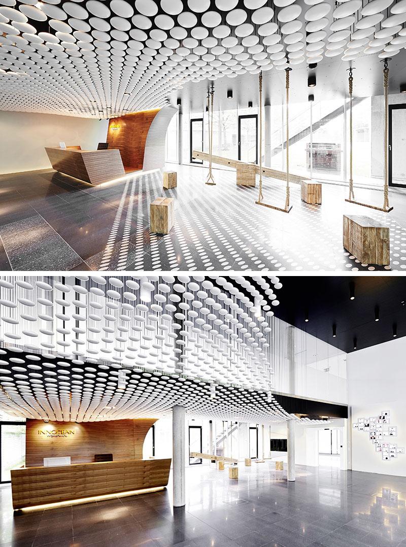 Интересная потолочная конструкция из овалов