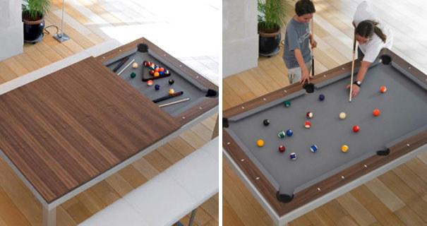 Необычный стол с нишей для игры в бильярд в разобранном виде