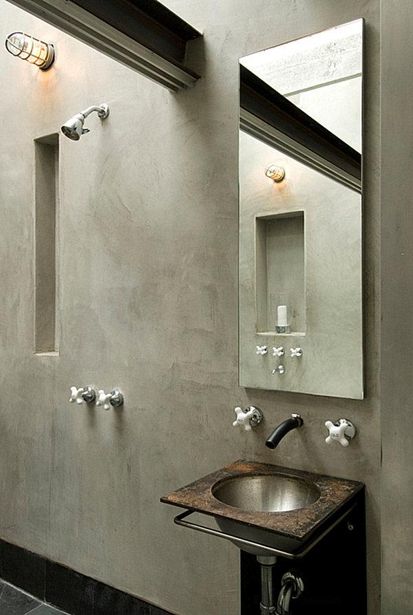Серые тона в индустриальной ванной