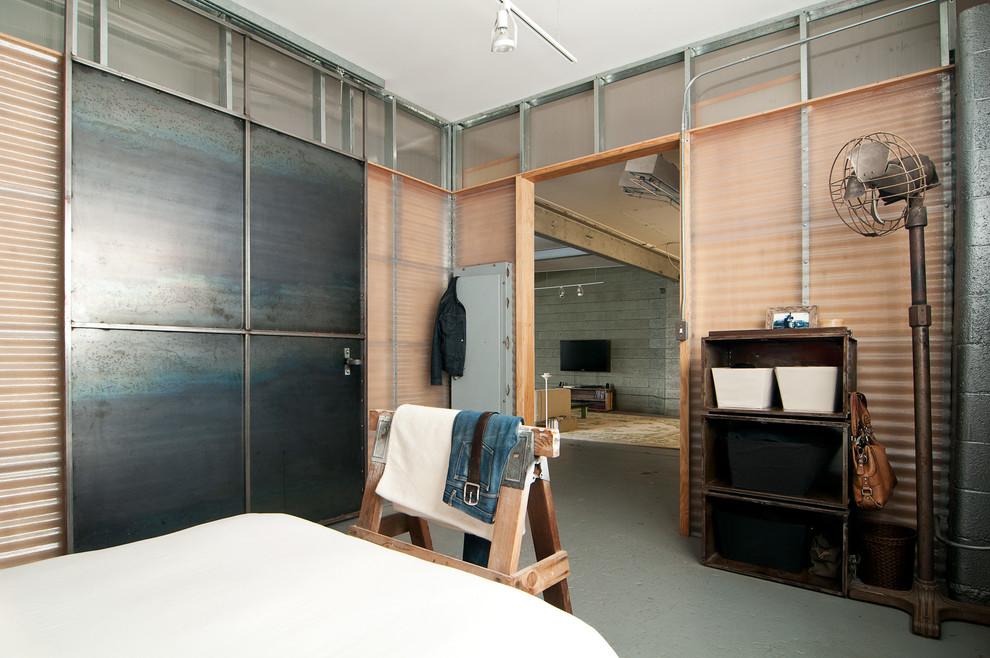 Индустриальный дизайн интерьера спальни