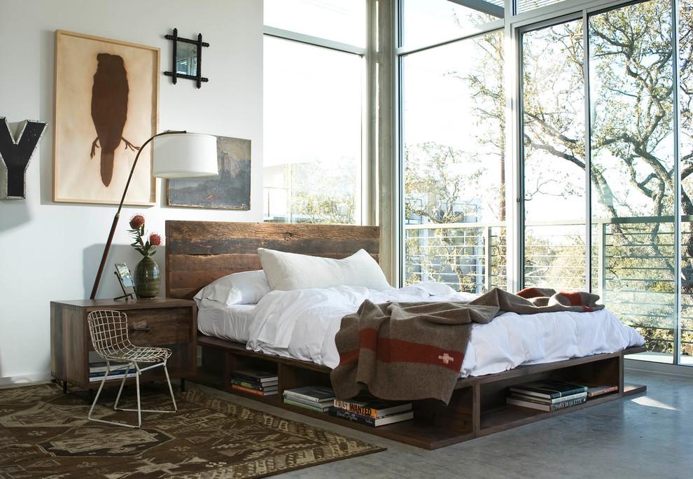 Индустриальный дизайн интерьера с деревянной кроватью
