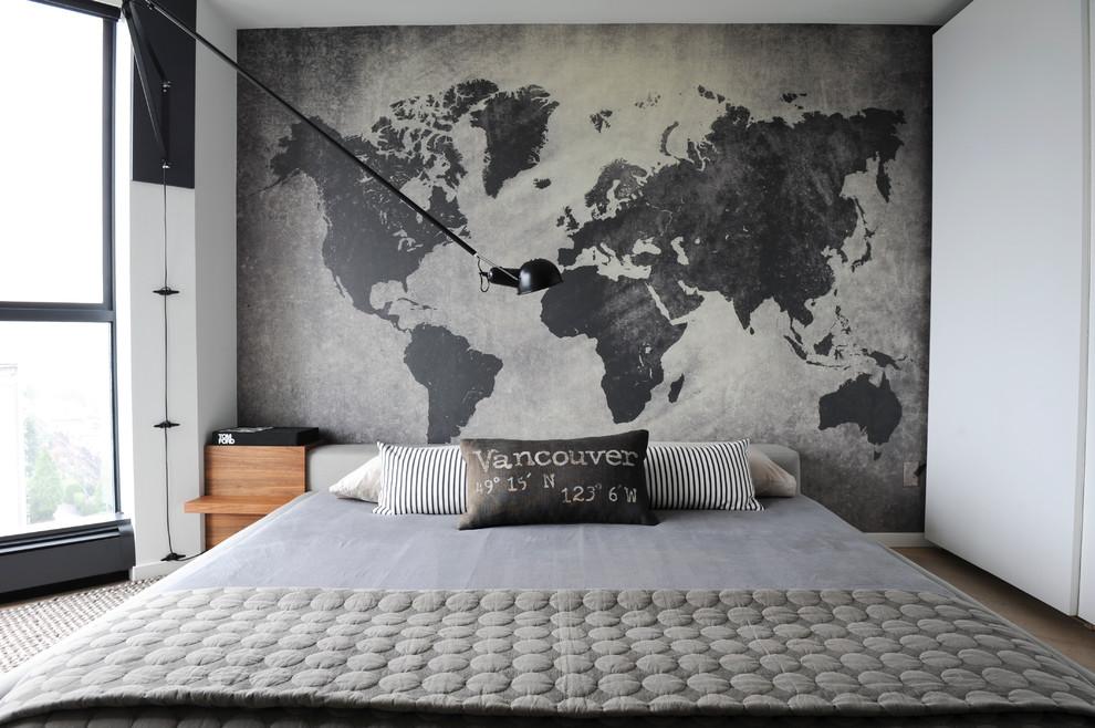 Индустриальный интерьер спальни в чёрно-белом цвете