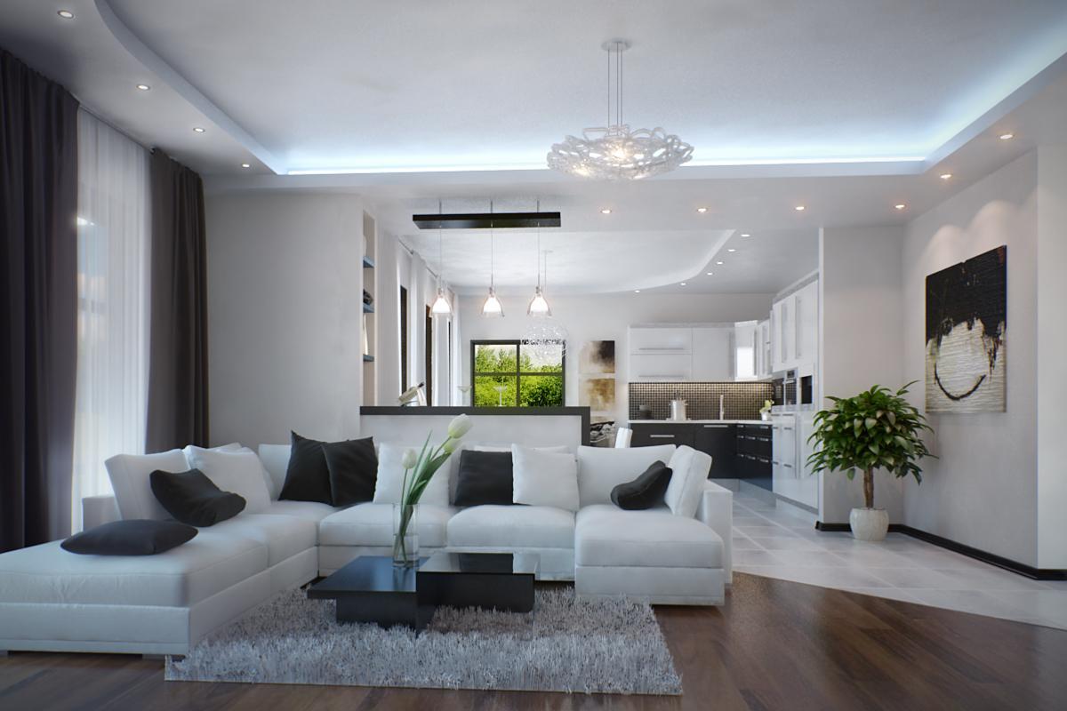 Оригинальное оформление интерьера помещения в стиле минимализм