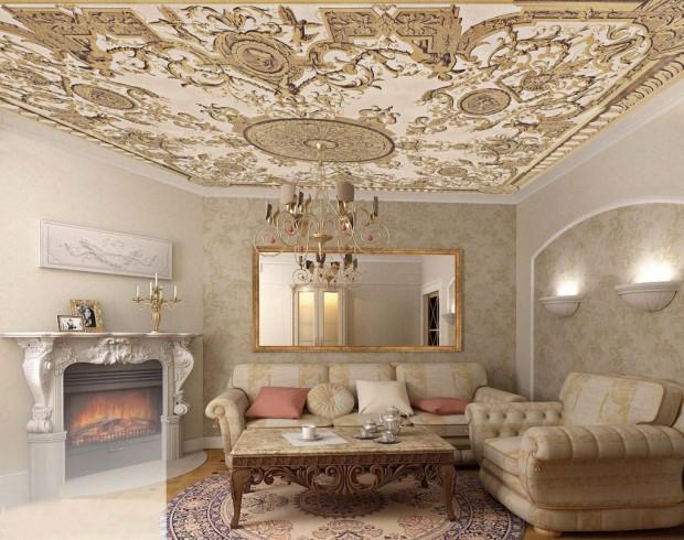 Уникальный дизайн интерьера помещения в стиле ренессанс