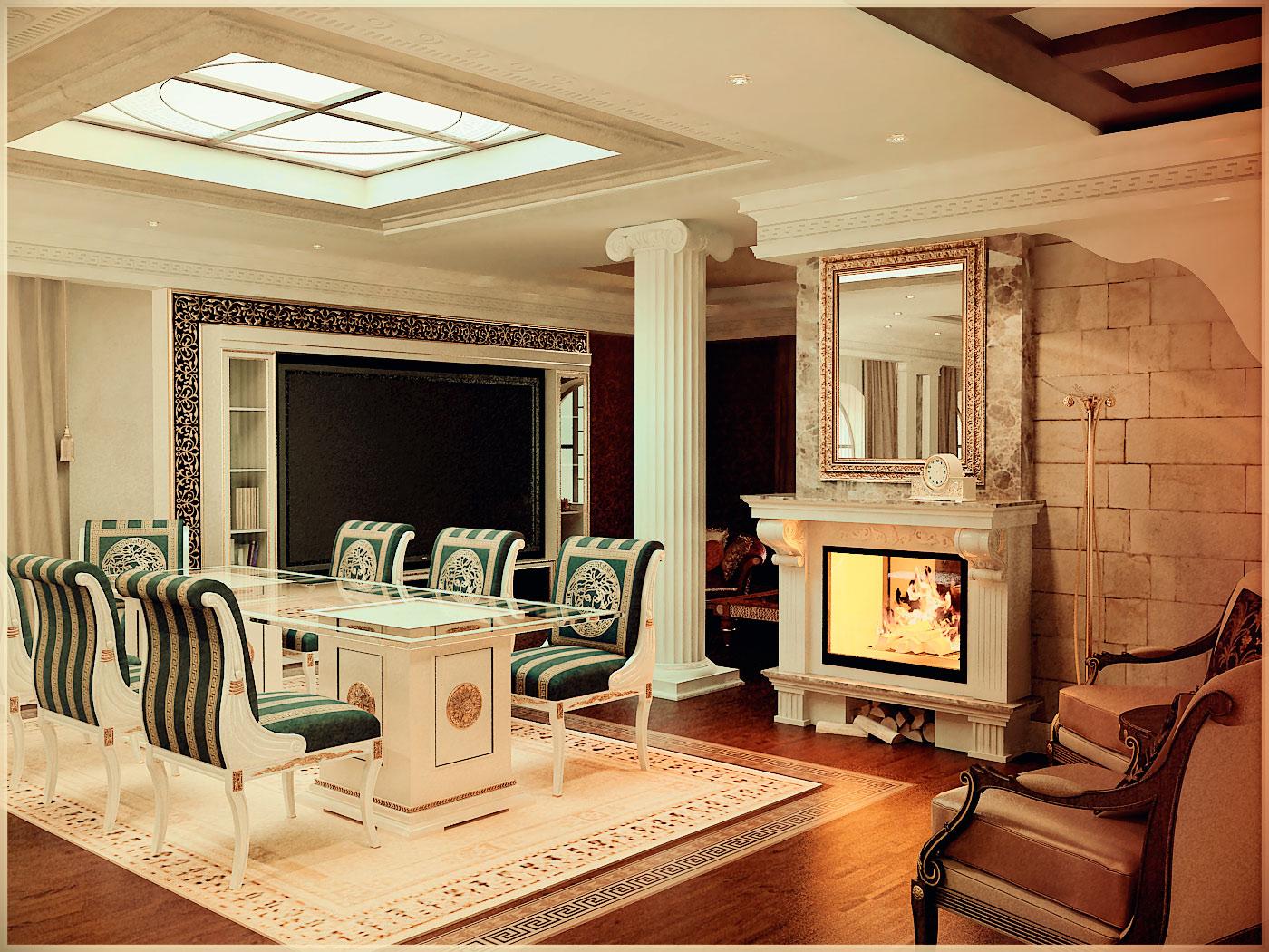 Яркий дизайн интерьера помещения в стиле ренессанс