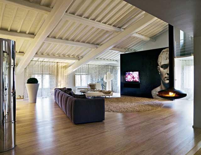 Просторный интерьер гостиной в урбанистическом стиле