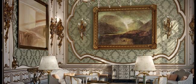 Картина на стене в интерьере в стиле рококо