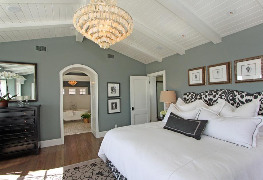Красивое оформление интерьера спальной комнаты в сером оттенке