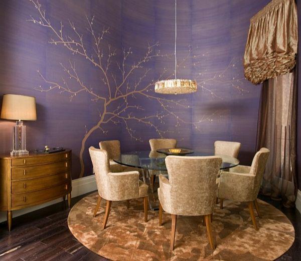 Столовая с фиолетовыми стенами