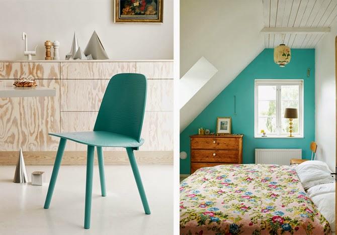Бирюзовый цвет мебели и стен