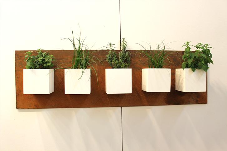Вертикальный сад: цветочные горшки кубической формы, прикреплённые к деревянной настенной панели