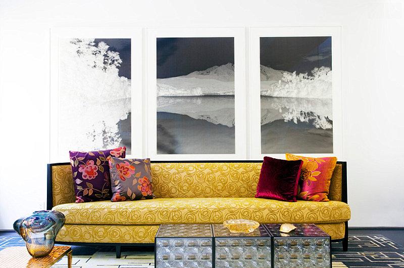 Красочный дизайн в интерьере гостиной