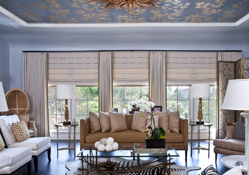 Потрясающий интерьер домов в стиле барокко - гостиная в синих цветах
