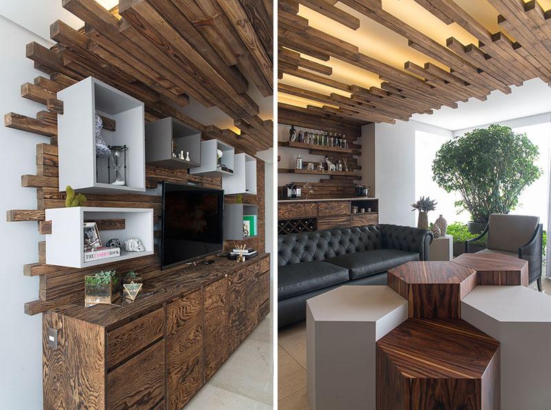 Интерьер с деревянными рейками от Kababie Arquitectos