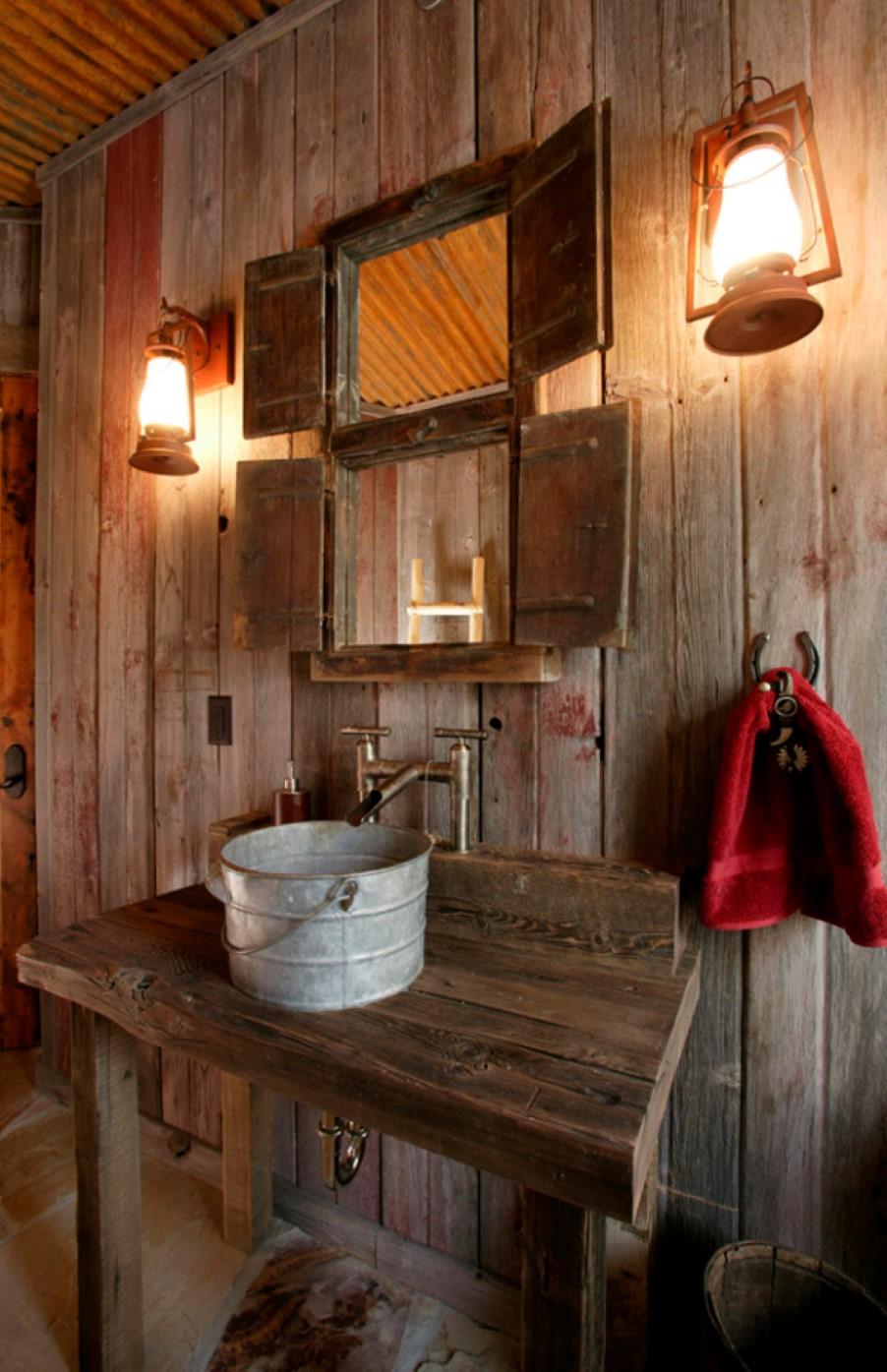 Ванная комната с деревенским декором