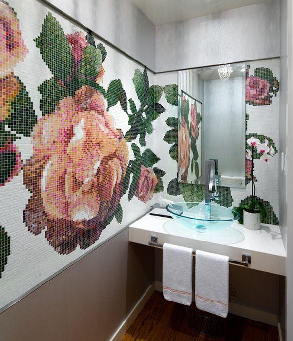 Настенная мозаика в интерьере ванной