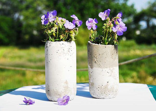 Необычные горшки для цветок из бетона