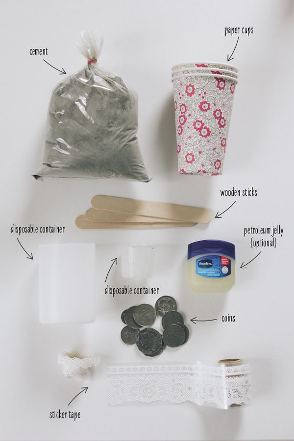 Материалы для изготовления подсвечника из бетона