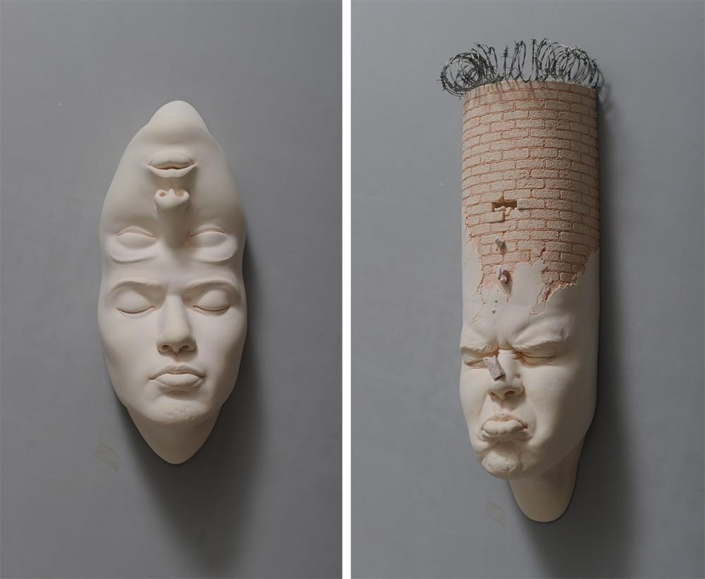 Джонсон Цанг: фарфоровые скульптуры с комическим морфингом лиц