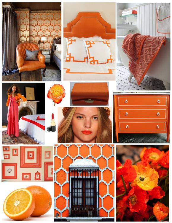 Оранжевый цвет в интерьере и гардеробе