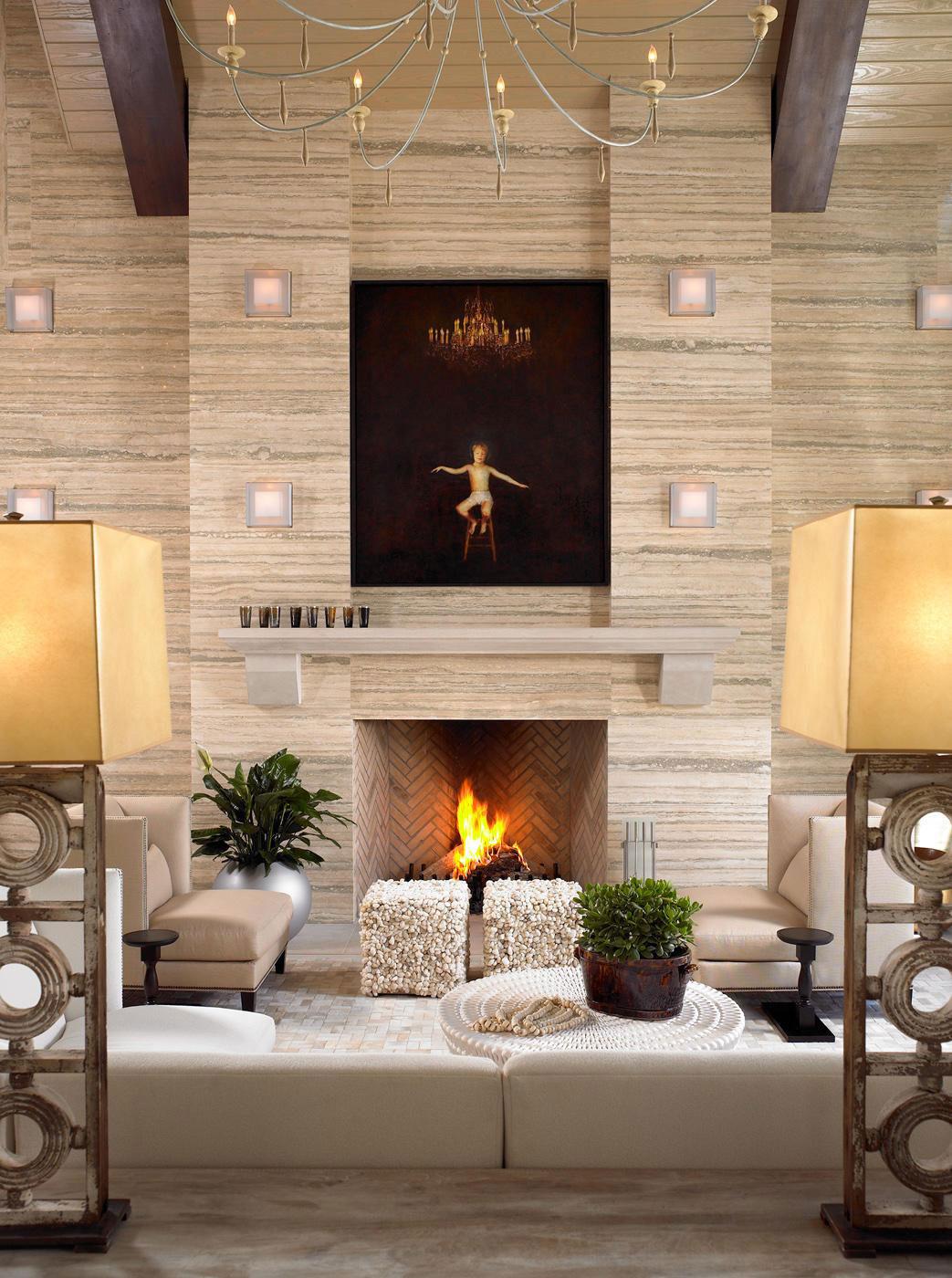 Камин в интерьере гостиной - Фото 38